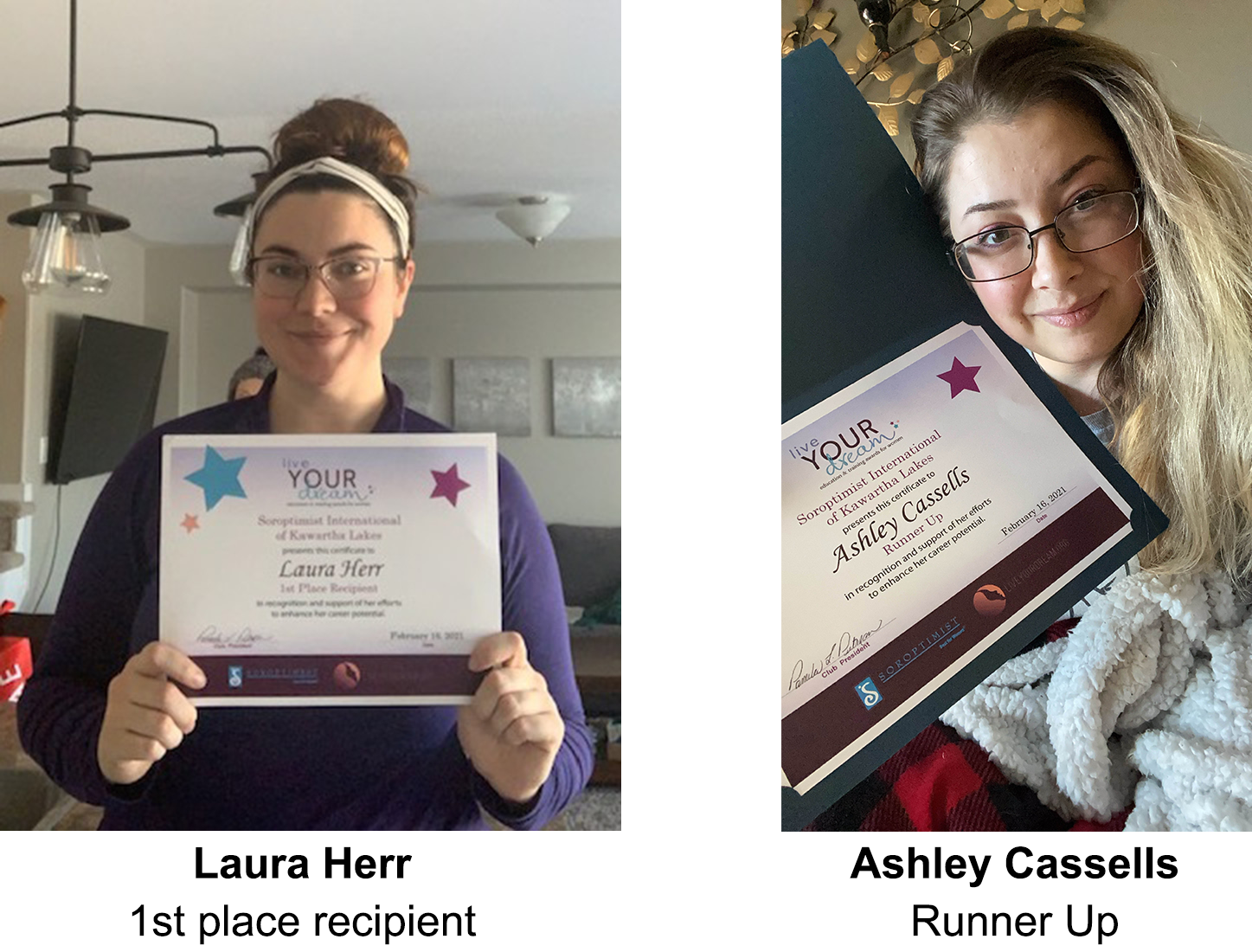 Laura Herr and Ashley Cassells - recipients of the 2021 Live Your Dream Award